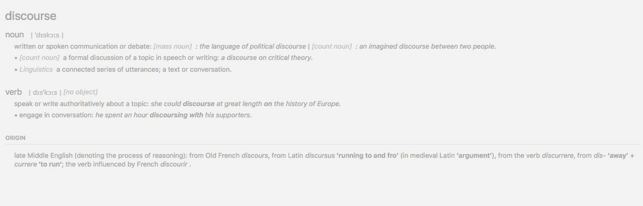 Discourse dictionary definition